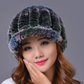 2016 Women Casual Striped Rex Rabbit Fur Hat Warm Elastic Hats Colors Girl Winter Elegant Lady Beanies Cap
