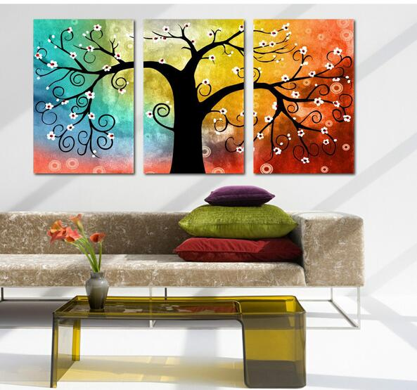 Abstract multi still life 3 panel wall art tree picture for Wall paint buy online