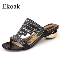 Ekoak New 2017 Fashion Women Sandals Summer Party Shoes Ladies Sexy Crystal Med High Heels Shoes
