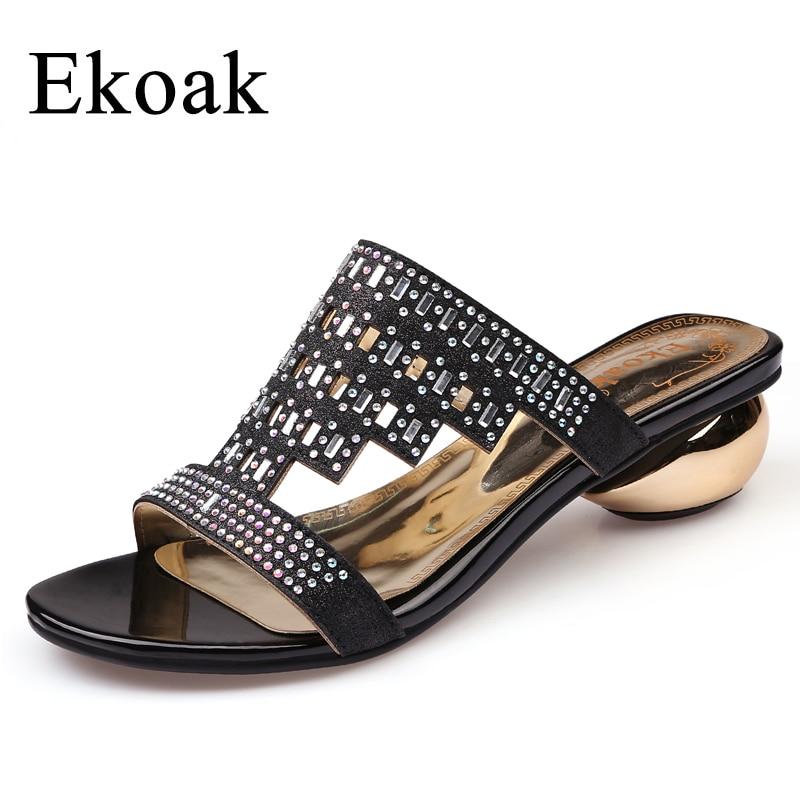 купить Ekoak New Fashion Women Sandals Summer Party Shoes Ladies Sexy Crystal Med High Heels Shoes Woman Casual Girls Slides по цене 1531.53 рублей