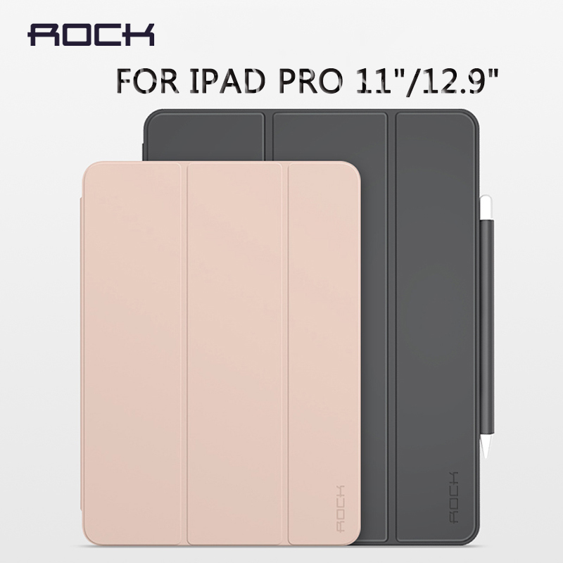 For IPad Pro 12.9 Case With Pencil Holder ROCK PU TPU Soft Cover For Magnetic Auto Sleep/Wake Protective Case For IPad Pro 11