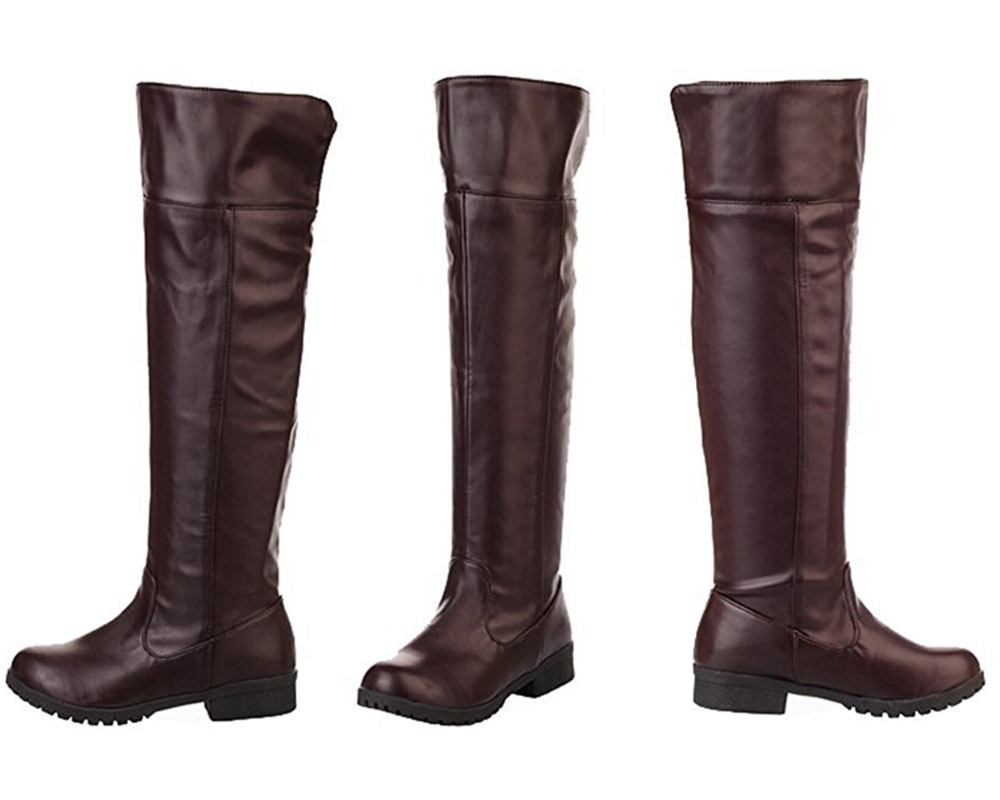 Attack On Titan Shingeki No Kyojin Cosplay Long Shoes Boots Brown Black