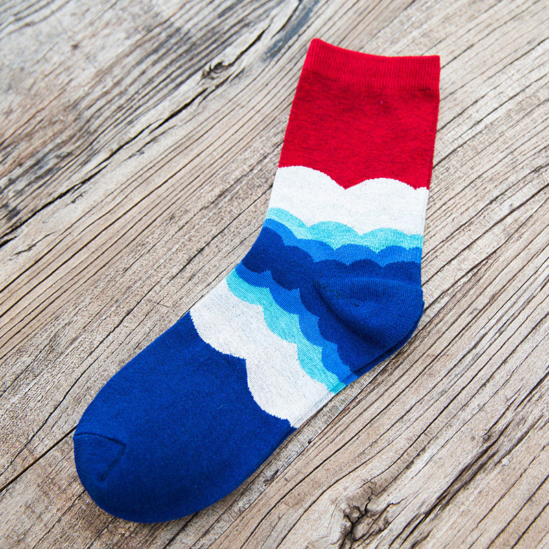 5 Paare / Lot Casual Brand Herren Socken Bunte Wave Striped Meias - Unterwäsche - Foto 6