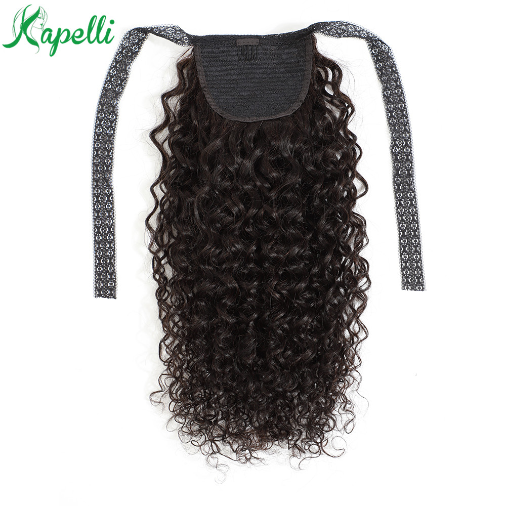 Curly Lace Ribbon Ponytail Human Hair Clip In Extensions Brazilian 100g Natural Black Color #1B 100% Remy Human Hair Extensions