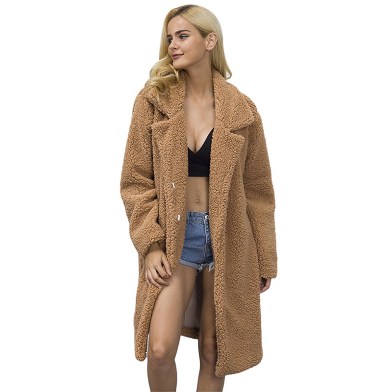 Faux צמר מעיל הפרווה סרוגה גבירותיי שרוול ארוך נשים רחב מימדים חם קשמיר פרוות ארנב מעיל פרווה מעילי גשם מעיל פלאפי
