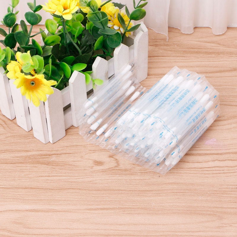 50pcs Disposable Medical Alcohol Stick Disinfected Cotton Swab Care Tool Aid Kit