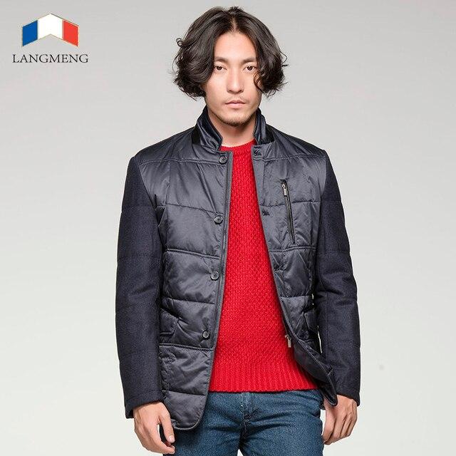 Langmeng 2015 homens parka quente jaqueta de inverno outwear grosso coats men projeto de emenda casual jaquetas casacos homens de qualidade da marca