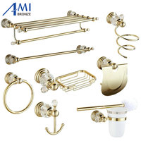 611G Series Golden Polish Brass & Crystal Wall Mounted Bathroom Accessories SetsTowel Rack Towel Shelf Hook Paper Holder