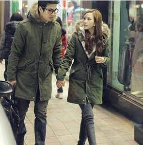 Online Shop Lovers MENS WOMENS fur ARMY GREEN hooded Parka ...