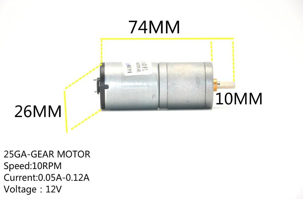 25GA-370 DC 12V 65mA 15RPM Permanent Magnetic DC Geared Motor DIY toy car