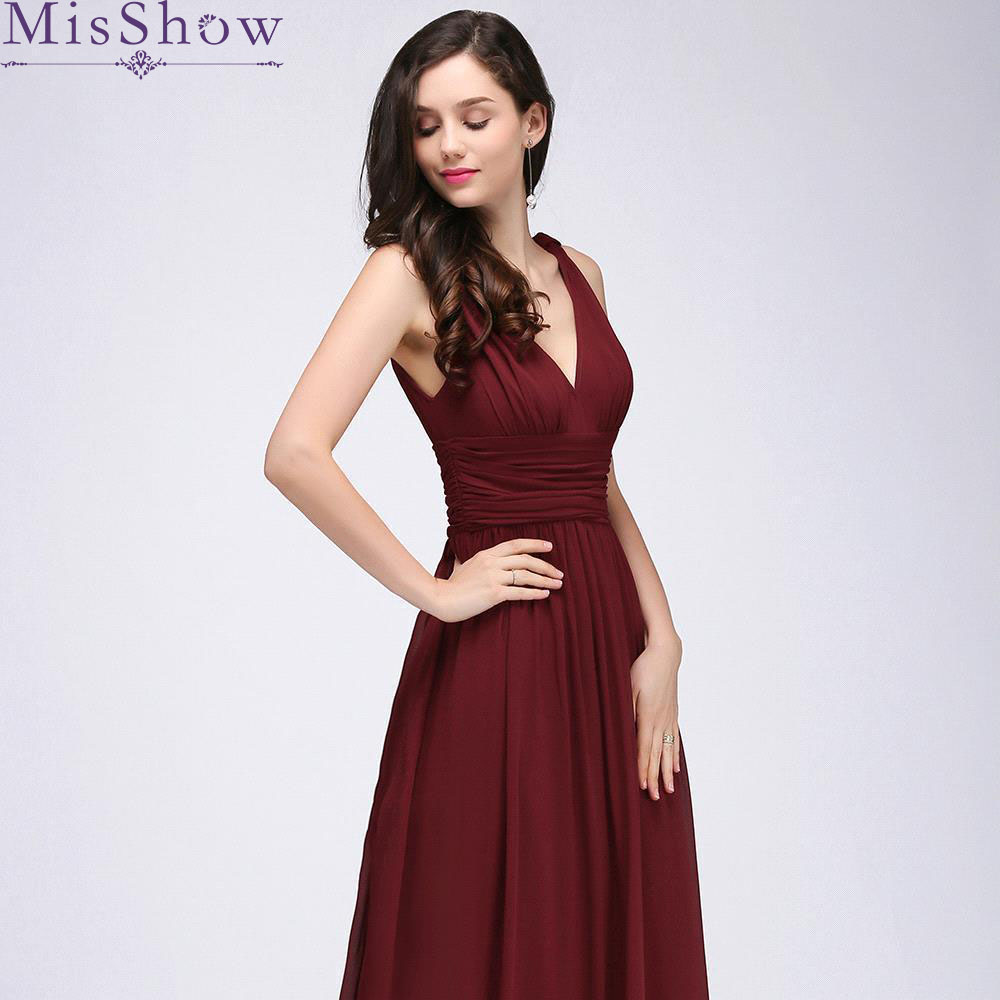 in stock! Long burgundy   Bridesmaid     Dresses   2019 Sleeveless Chiffon Floor Length Women Formal Party Gown Wedding Party   Dresses
