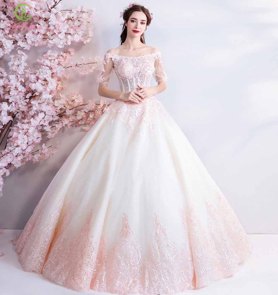 SSYFashion New Luxury   Evening     Dress   The Banquet Sweet Pink Lace Embroidery Beading A-line Prom Party Gown Robe De Soiree