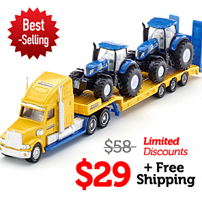Free shipping Siku 1805 Truck with New Holland tractors 1:87 american truck flatbed trailer alloy metal model car toy collection