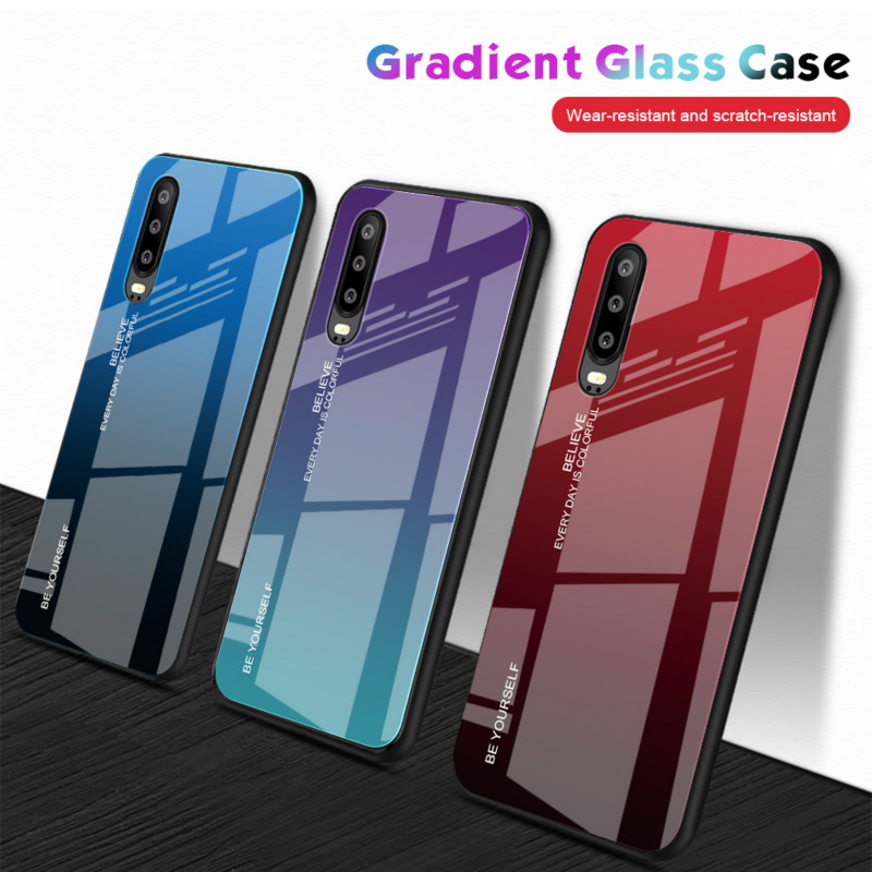 100pcs lot Gradient Tempered Glass phone cases hard case for Huawei P30 Y9 Y6 pro prime