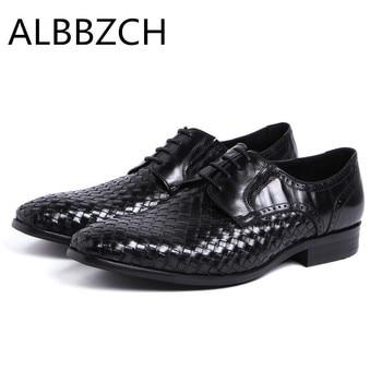 New mens weave genuine leather wedding shoes men black business work dress shoes fashion pointe toe lace derby men shoes zapatos