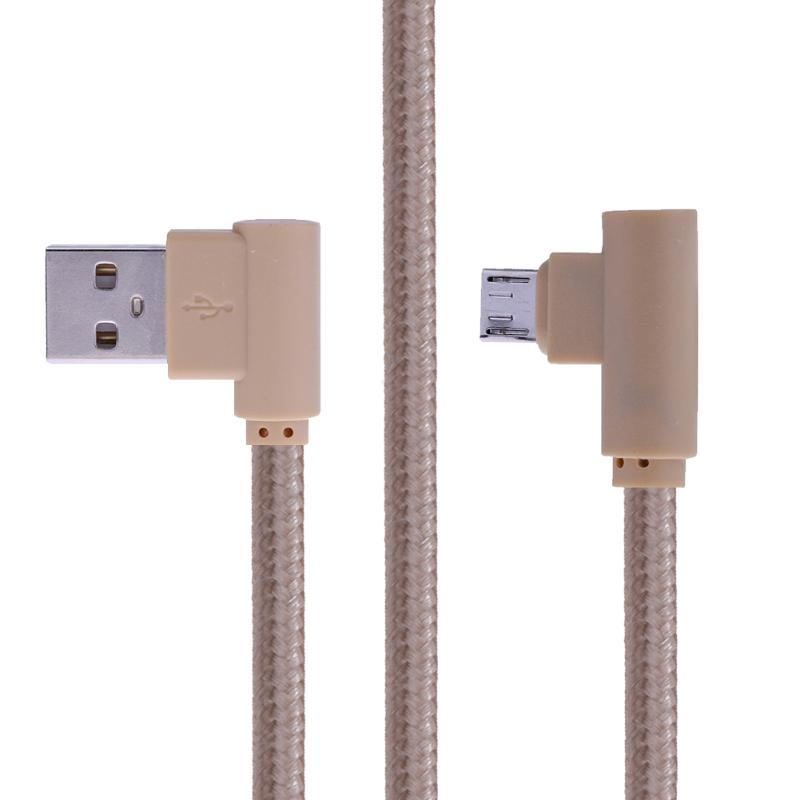 ALLOYSEED 90 Degree Right Angle 5Pin Mirco USB Braided Data Sync Charging Cable wire line Black/ White/ Gold/ Rose Gold black white gold 100