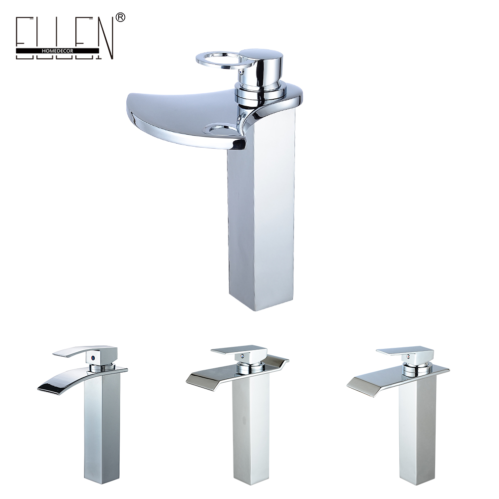 Tall waterfall vessel bathroom faucet sink square basin mixers chrome water tap for bathroom sink