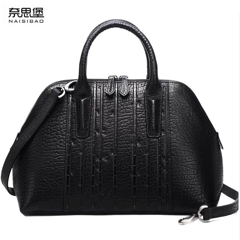 NAISIBAO2018 100% new luxury fashion high-quality large shell shell bag Messenger bag shoulder bag leather embossed China wind p naisibao2018 new luxury fashion 100% high quality leather handbag shell bag messenger bag leather embossed wind coat