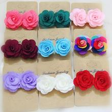 Korean Design Fashion Cloth Fabric Cute Rose Flower Stud Earrings For Women and Girl's Vintage Brincos Jewelry Gift 2018 new