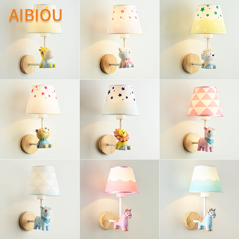 AIBIOU Cartoon Led Wall Lights With Fabric Lampshade For Kids Bedroom Children Wall Sconce Boys Room Bedside Light Girls Lamps