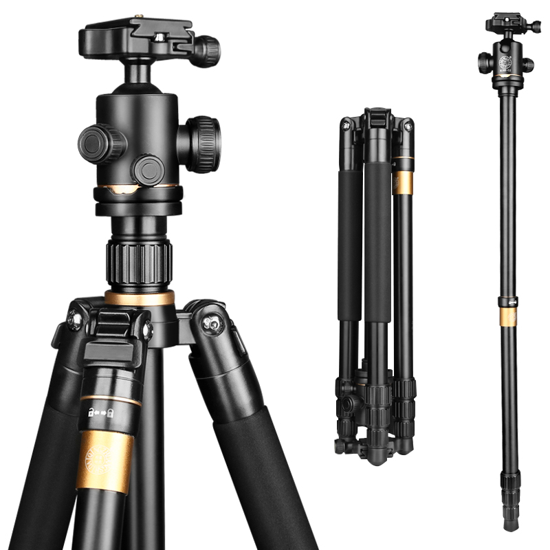 Q222 159cm CNC machining Aluminum camera tripod monopod for digital dslr video camera photo stand for camcorder 8kg load
