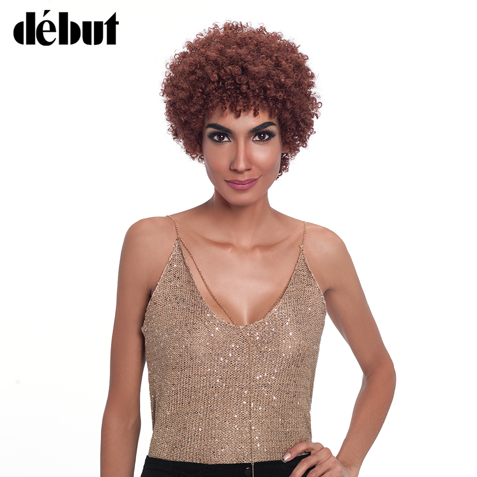 Debut Brazilian Remy Human Hair Wigs Pixie Curly Style Hair Machine Made Short Wigs For Women ...