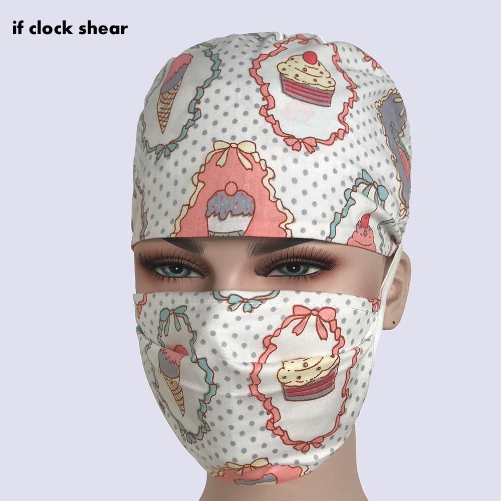 IF Unisex Beauty Salon Hats High Quality Dentistry Surgical Caps Pet Hospital Nurse Cap Printing Cotton Breathable Pharmacy Hat