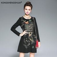 Vintage Embroidery Black Blue Dress Autumn Winter Women Plus Size Clothing S To 5XL High Quality