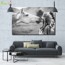 цена на Indian Women Wall Art Canvas Painting Nordic Poster Horse Art Prints Wall Pictures For Living Room Black And White Unframed
