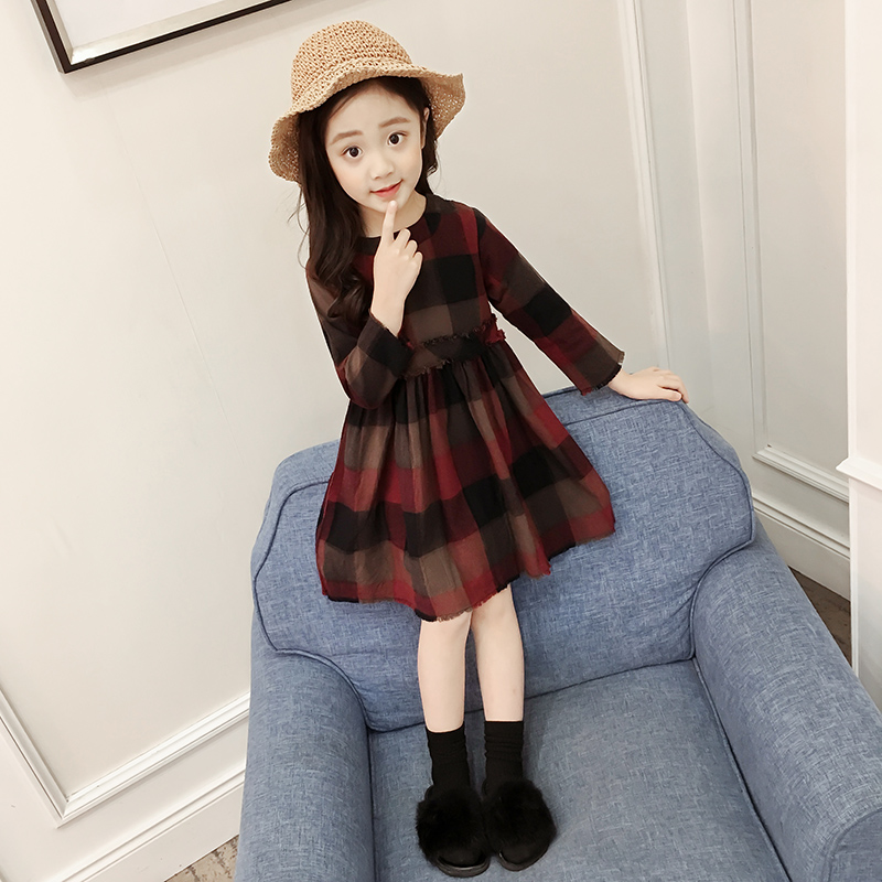 Todder Girl Dresses 2018 Autumn Long Sleeve Plaid Casual Dress Elegant Dresses For Girls 2-12 Years Princess Dress Robe Enfant