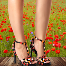 Pink Palms women summer sandals floral high heel shoes black custom handmade sweet flowers sandals