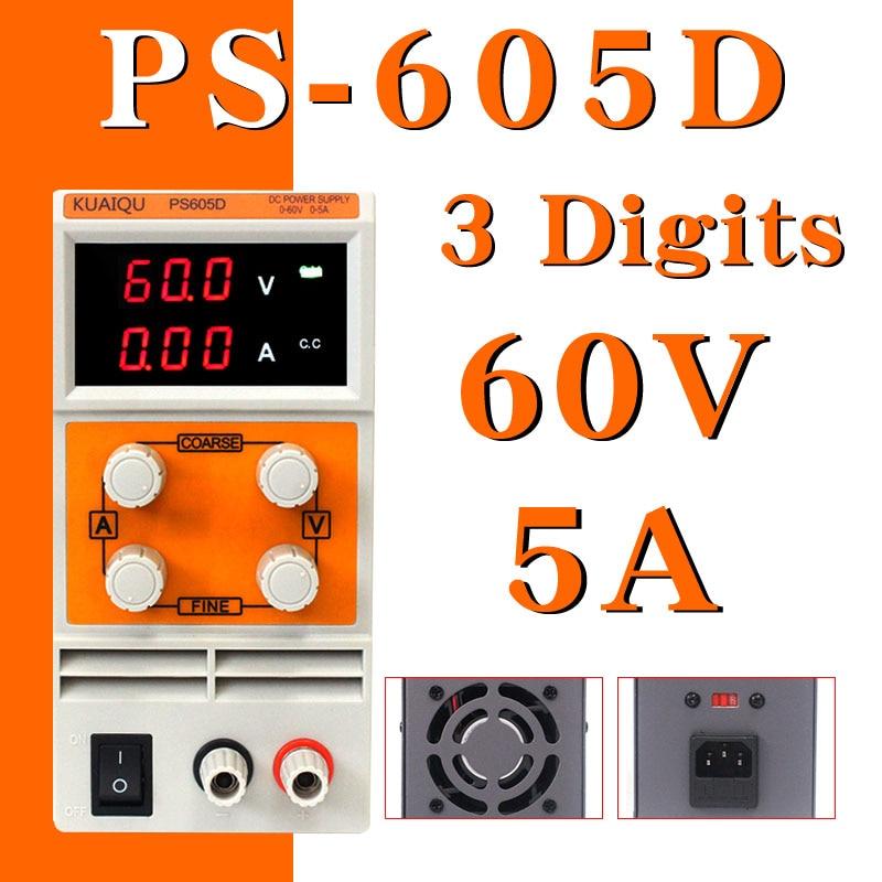 KUAIQU mini alimentation cc PS605D 60 V 5A laboratoire de commutation numérique réglable alimentation cc 0-60 V 0-5A PS605D