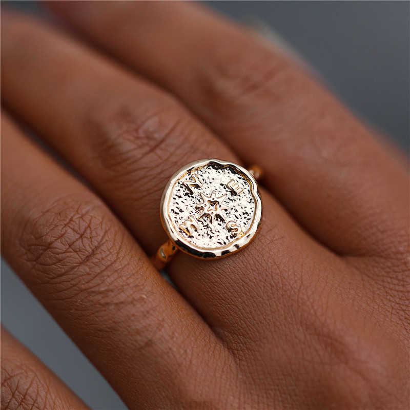 Gold Silver Color Compass Vintage Rings 2019 For Women Fashion Finger Round Ring Female Friendship Jewelry Gifts Drop Shipping