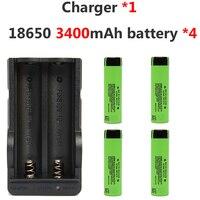 4pcs/lot 18650 3.7v 3400mah Rechargeable Li ion Battery For Panasonic +1* Charger for Led Flashlight Headlight