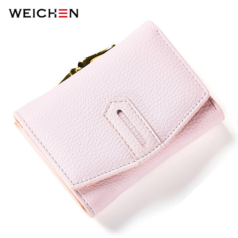 WEICHEN Fashion Small Women's Wallets Solid Leather Card Holder Coin Female Hasp Short Clutch Wallet Ladies Purse Bag
