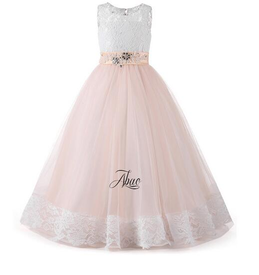 Girls Formal Dress 2017 Sleeveless Flower Girls Princess Dresses Kids Long Lace Party Gauze Ball Gown Children's Wedding Dress girls christmas formal dresses 2018 flower girls dresses kids long party gauze birthday ball gown children s wedding dress red