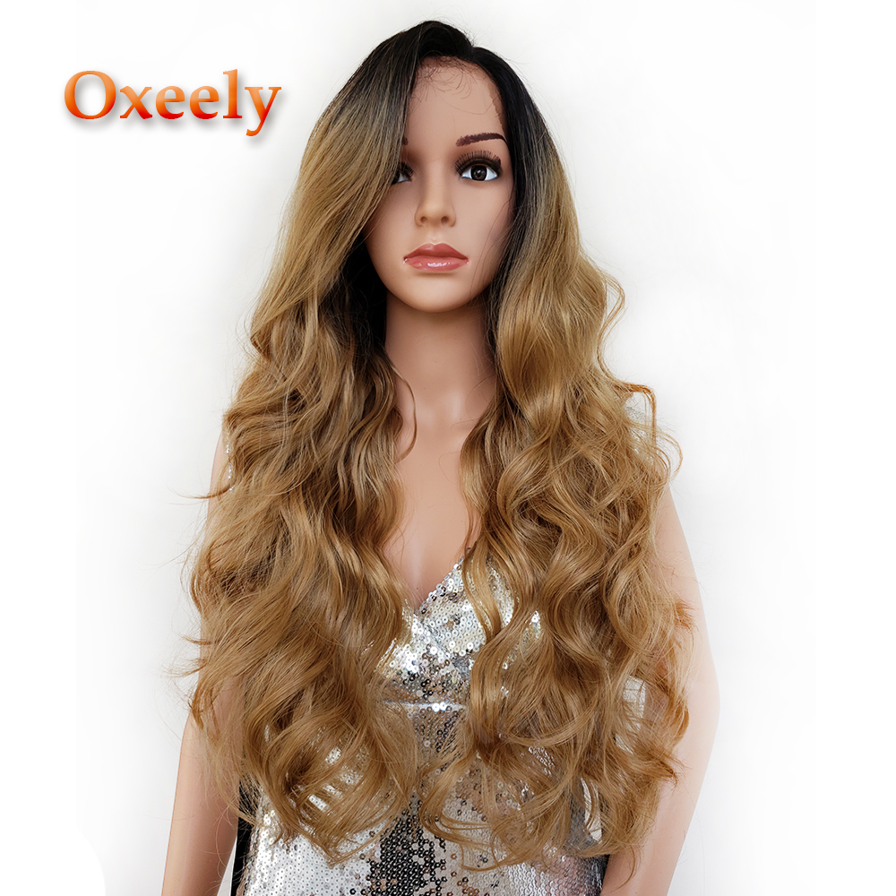 Oxeely Blonde Ombre Hair Lace Front Wig Long Body Wave Glueless Wigs with Baby Hair Synthetic