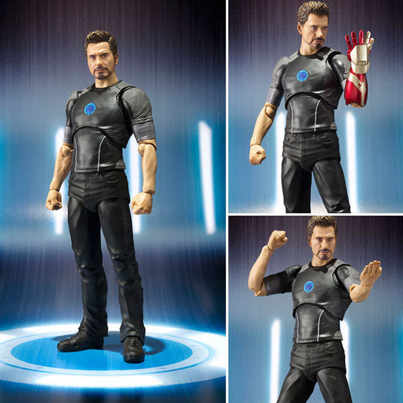 18cm Avengers Assemble Iron Man 3 Tony Stark Animated Doll Super Heroes PVC Action Figure Collection Model Toys 17cm 1set super heros the avengers iron man mark 43 with tony s sofa pvc action figure model children toys doll collection