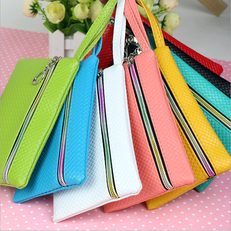 for <font><b>Lenovo</b></font> <font><b>S750</b></font> A680 A316i A328 A536 A526 S860 S850 leather phone case Ms. candy-colored wallet striped plaid zipper bag case image