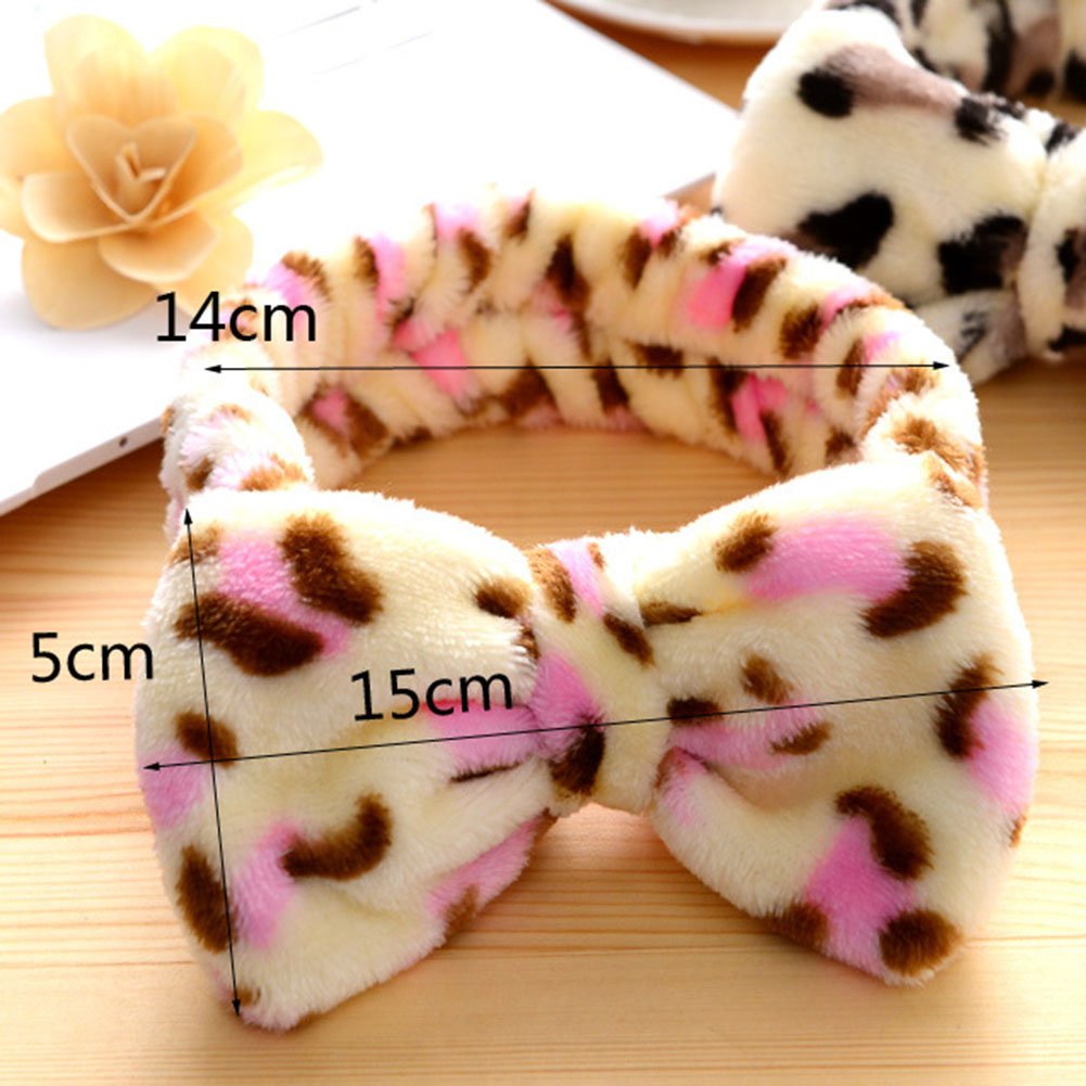 9b64fb0edec 1 Pc Sweet Girls Butterfly Knot Flannel Headband Towel Make up Wash ...