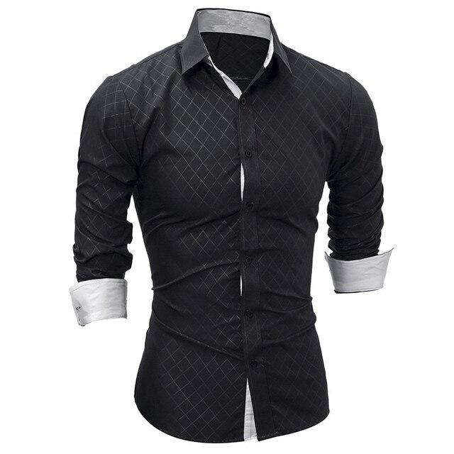 Overhemd Zwart Heren.Nieuwe Mannen Lange Mouw Casual Shirt Mode Smoking Shirt Effen Kleur