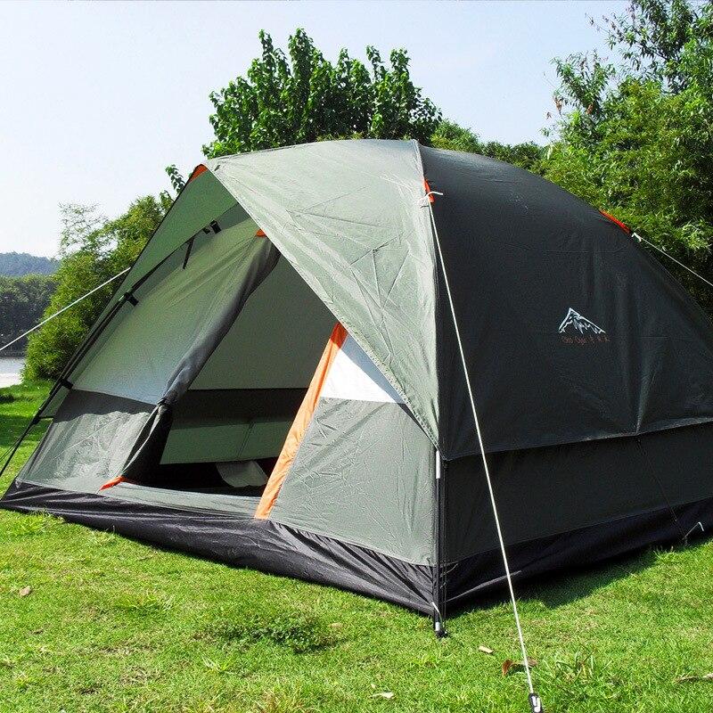 Три человека 200*200*130 см двойной Слои атмосферостойкий открытый палатка для Рыбалка, охота приключений и Семья партии