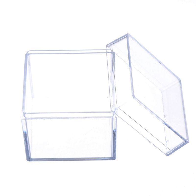 Clear Ring Holder Acrylic Propose Box Wedding Ring Boxes Romantic Date Gift Square Cube Props Box Jewelry Display Storage Box