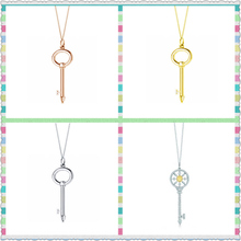 TIFF original 100% 925 sterling silver rose gold and key pendant necklace has logo1:1 female high quality gifts