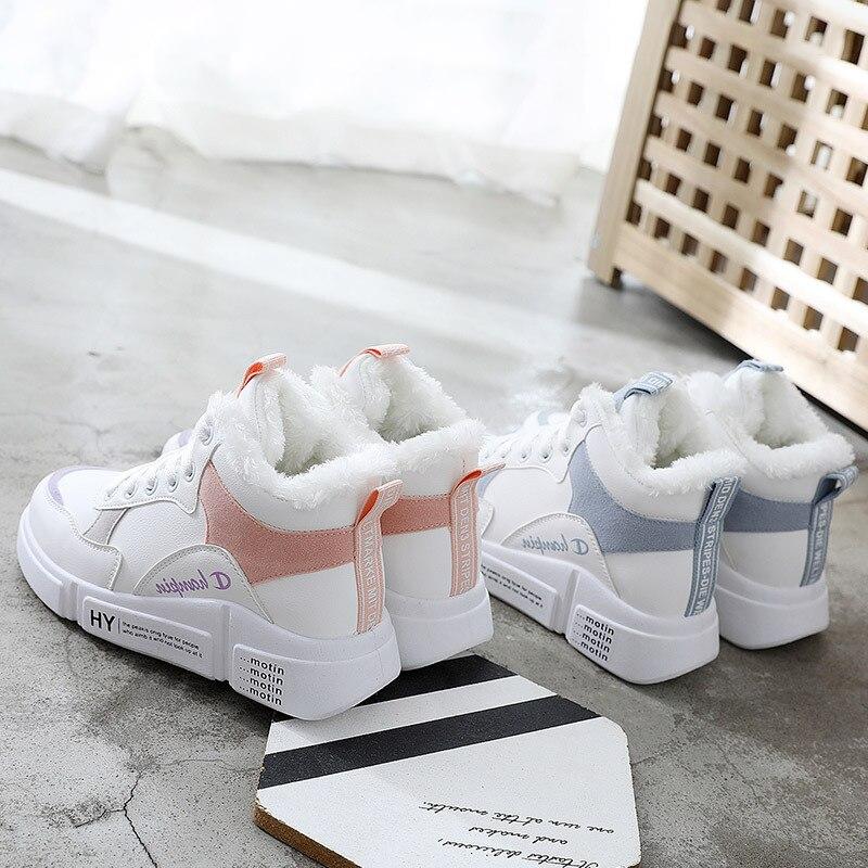 Plus Terciopelo Estudiantes rosado Nuevo Mujeres Casual Mujer Azul Zapatos Botas Calientes 2019 Blanco Wild Invierno De Rw4xcTqH