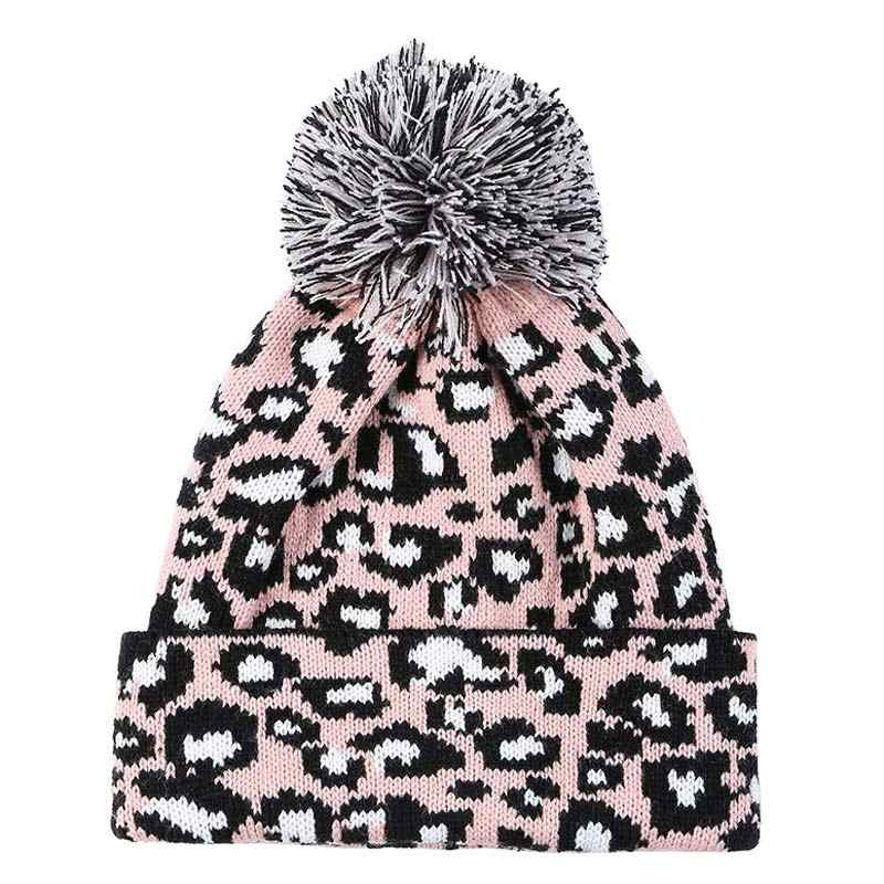 e6fb19ad7a8407 ... Women's Knitted Pompom Hat Leopard Knitting Yarn Beanie Caps Pink White  Grey Winter Autumn Warm Accessory ...