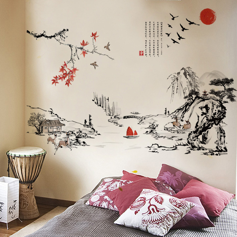 Chinese Style Ink Painting Landscape Art Wall Stickers Living Room Bedroom Background For Home Decoration Mural Decals Wallpaper