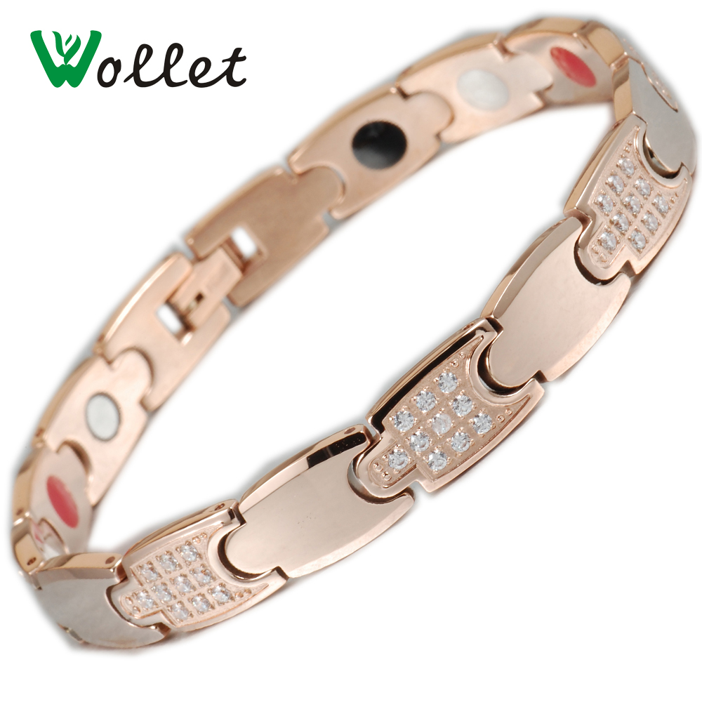 Wollet Jewelry CZ Stone 5 in 1 Healing Rose Gold Color Zircon Magnetic Germanium Infrared Ion Tungsten Bracelet For Women Energy in Chain Link Bracelets from Jewelry Accessories