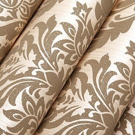 Beibehang Европейская мода тканые обоев Флокирование Блеск Дамаск обоями для гостиной Спальня диван ТВ фоне золотой