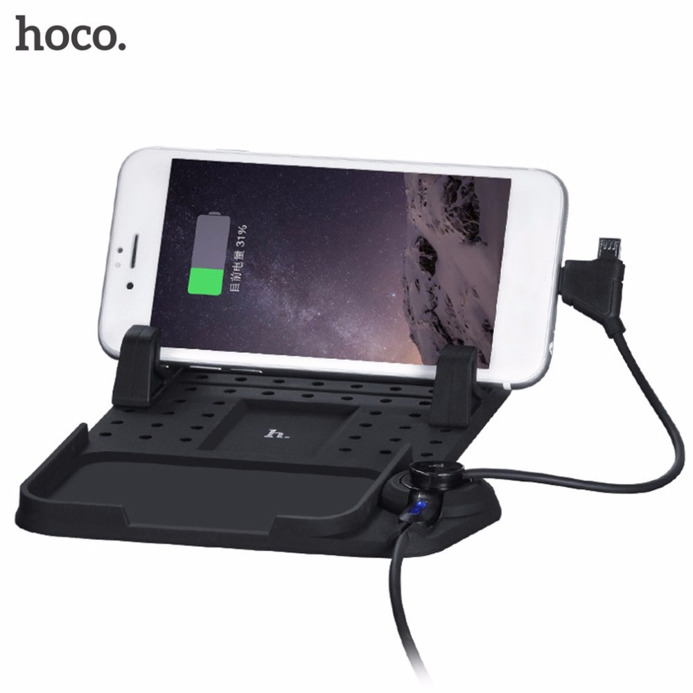 HOCO CA1 Car Use Magnetic Charging Bracket Phone Stand Holder Anti-slip Silicone Black Pad For iPhone For Android